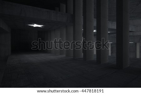 Abstract concrete interior with future columns and lights in the form of stars. Architectural background. 3D illustration. 3D rendering