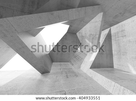 Abstract concrete interior with windows and chaotic columns structures. Modern architecture background, 3d illustration