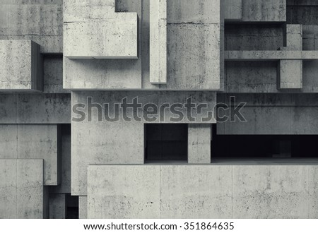 Abstract concrete structures, background with chaotic cubic relief pattern, 3d illustration - stock photo