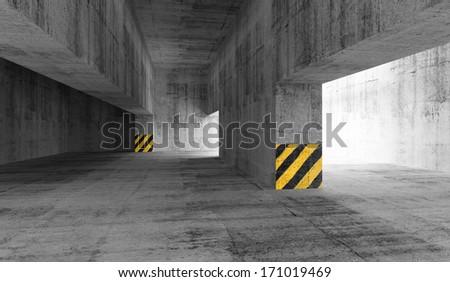 Abstract concrete urban parking interior. 3d illustration - stock photo