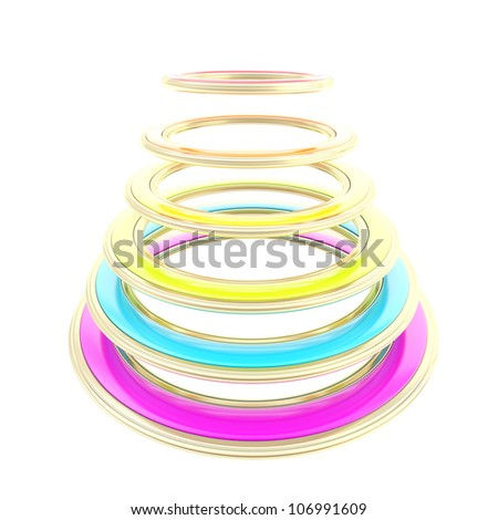 Abstract construction made of rainbow colored circles isolated on white - stock photo