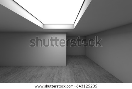 Abstract contemporary architecture template, empty room interior background with concrete floor and square ceiling light window. 3d illustration