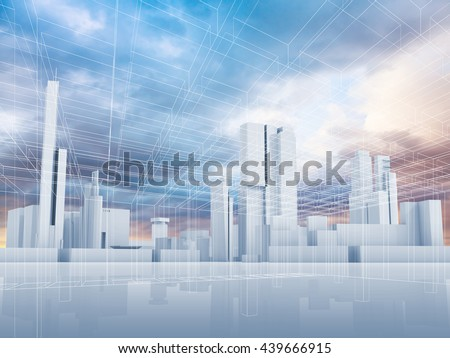 Abstract contemporary city background. Cityscape skyline, colorful sky and wire frame lines pattern layer. Blue toned digital 3d render illustration