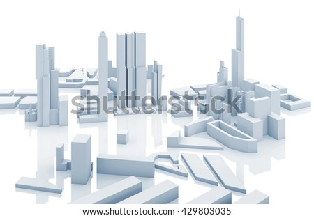 Abstract contemporary cityscape, blue toned 3d render illustration over white background with soft reflections over ground - stock photo