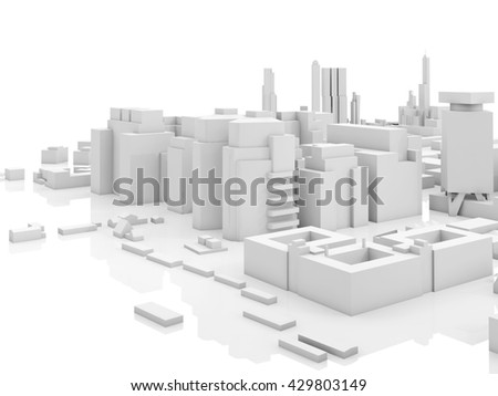 Abstract contemporary cityscape, 3d render illustration over white background with soft reflections over ground - stock photo