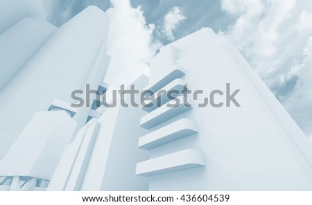 Abstract contemporary cityscape over cloudy sky background, blue toned 3d render illustration