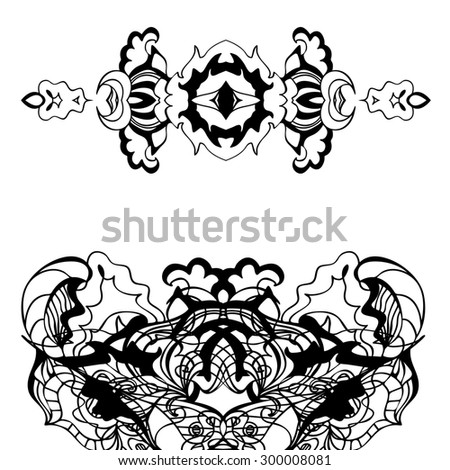 Abstract contour floral Doodle, raster copy of illustration - stock photo