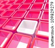 Abstract copyspace background made of colorful pink red and white glossy cube cell composition - stock photo