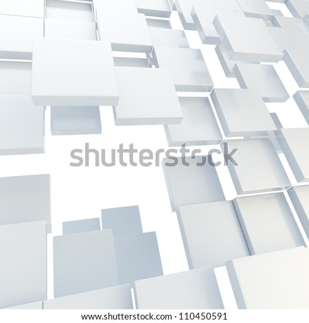 Abstract copyspace background made of white glossy plates - stock photo