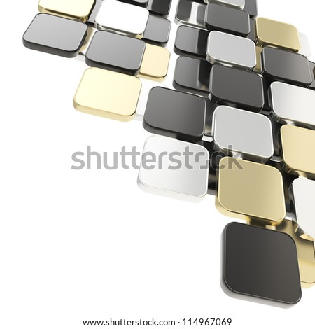 Abstract copyspace glossy black, golden, silver plate composition background over white with the space for your text - stock photo