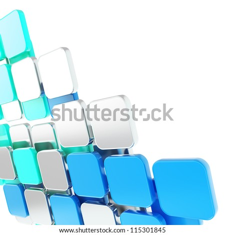 Abstract copyspace glossy blue plate composition background over white with the space for your text