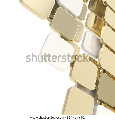 Abstract copyspace glossy golden and gray plate composition background over white with the space for your text - stock photo
