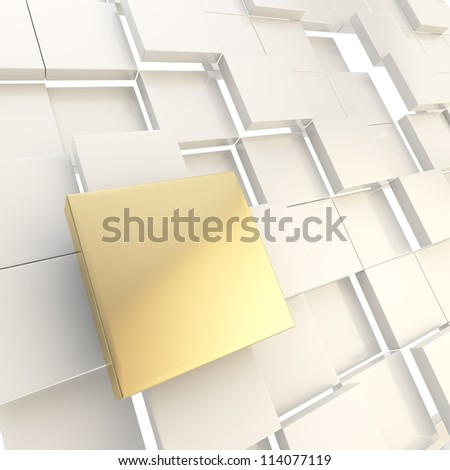 Abstract copyspace light background made of golden metal glossy square plate among white ones - stock photo