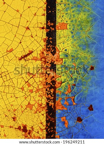 Abstract corroded colorful wallpaper grunge background iron rusty artistic wall peeling paint. - stock photo
