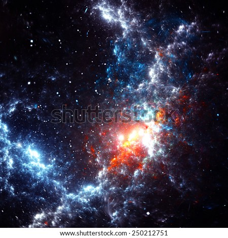 Abstract cosmic cloud, stars of a planet and galaxy. Fantasy color  background with lighting effect for creative design. Beautiful image for wallpaper, poster, cover booklet, flyer. Fractal artwork - stock photo