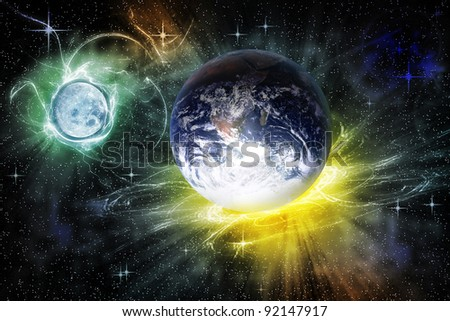 abstract cosmos landscape with earth and moon - stock photo