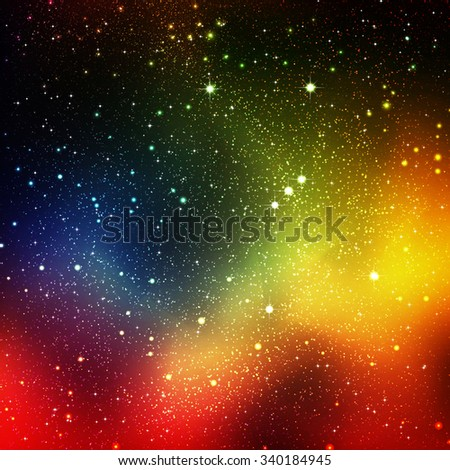 Abstract Cosmos, Universe Background Illustration with Orion Constellation and Starry Orbit - Star Field Sky - Colorful Rainbow Gradient Backdrop Graphic - Nebular Galaxy Night Sky. - stock photo