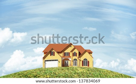 abstract cottage on green field