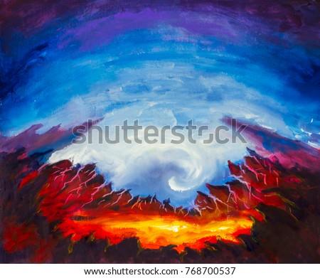 abstract crater volcano yellow orange lava stock illustration