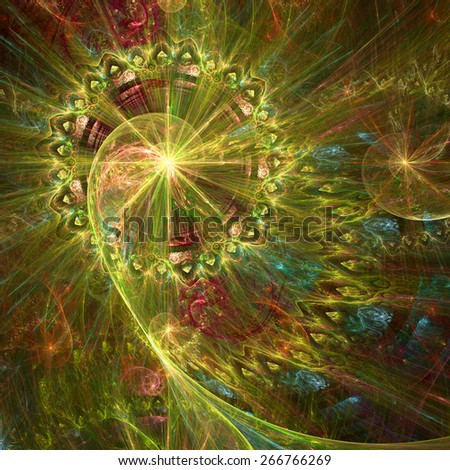 Abstract crazy dynamic spiral background with rings and stars, with major spiral surrounded by a decorative ring in the upper left corner. All in high resolution and in shining yellow,red,blue