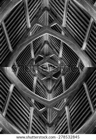Abstract creation of timber roof beams inside an old church - stock photo
