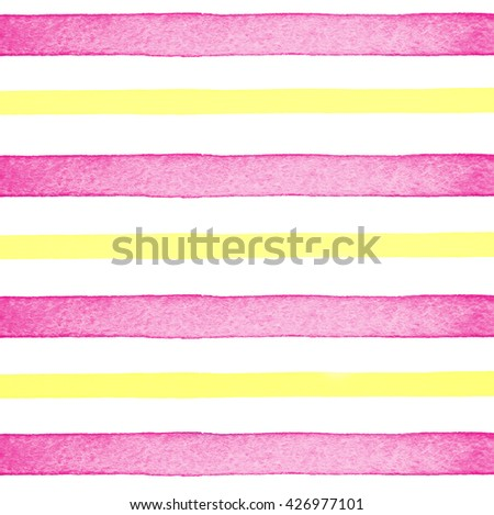 Abstract creative background texture. Hand draw stripes watercolor. Design illustration image lines. Bright pink with yellow backdrop.