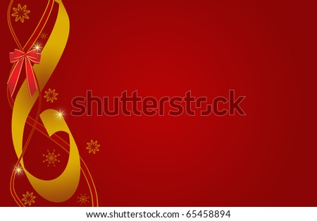 abstract creative Christmas Illustration gift ribbon red gold - stock photo