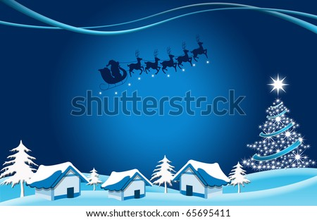 abstract creative christmas tree house Illustration with stars and snowflakes - stock photo