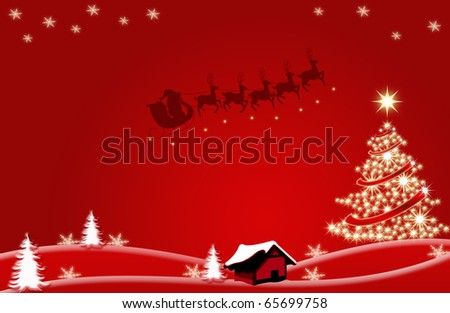 abstract creative christmas tree Illustration santa Claus with stars and snowflakes red white - stock photo