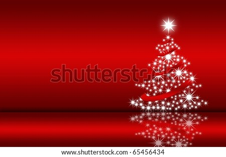 abstract creative christmas tree Illustration with stars and snowflakes red white - stock photo