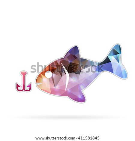 Abstract Creative concept icon of fishing for Web and Mobile Applications isolated on background. illustration template design, Business infographic and social media, origami icons. - stock photo