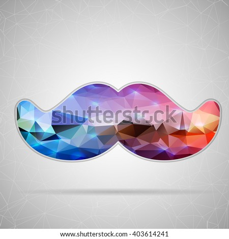 Abstract Creative concept icon of mustache for Web and Mobile Applications isolated on background. illustration template design, Business infographic and social media, origami icons. - stock photo