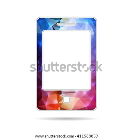 Abstract Creative concept icon of smart phone for Web and Mobile Applications isolated on background. illustration template design, Business infographic and social media, origami icons. - stock photo