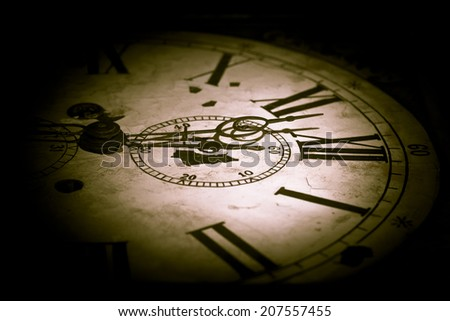 Abstract creative photo of dark clock face. - stock photo