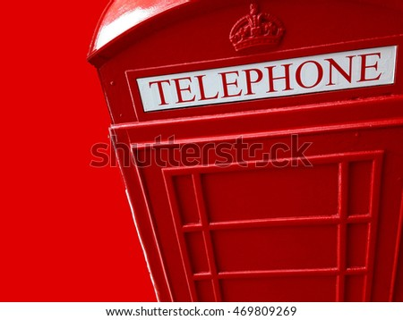 Abstract creative red telephone box scene
