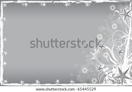 abstract creative romantic ice flower christmas card Illustration flowers stars snowflakes snow silver grey white - stock photo
