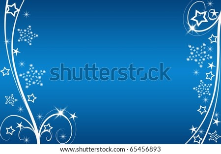 abstract creative romantic ice flower christmas card Illustration flowers stars snowflakes snow blue white - stock photo