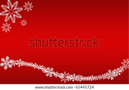 abstract creative romantic ice flower christmas card Illustration flowers stars snowflakes snow red white - stock photo