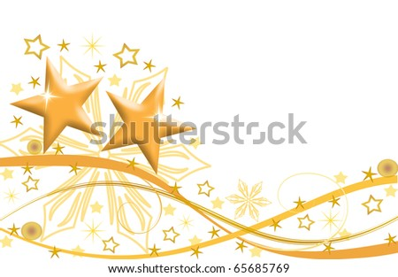 abstract creative romantic ice flower christmas card Illustration  stars snowflakes snow gold yellow - stock photo