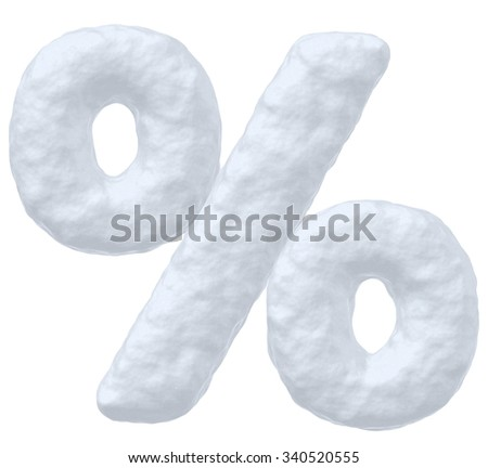 Abstract creative snowy winter decoration element -  snow sign of percent simbol isolated on white background, 3d illustration - stock photo