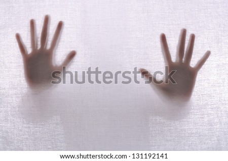 Abstract crime background. Silhouette of two hands