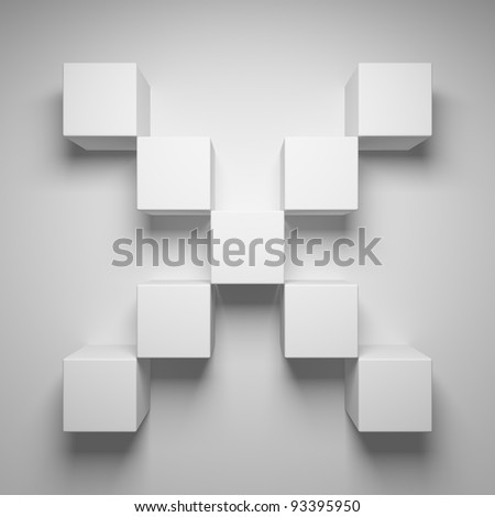 Abstract cross of the cubes - stock photo