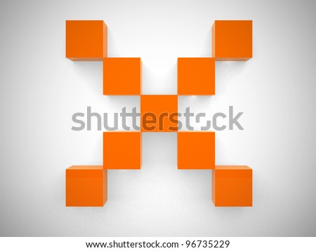Abstract cross of the cubes - 3d render illustration - stock photo