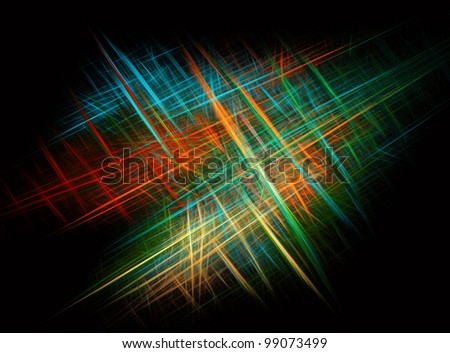 Abstract crossing colorful rays against black background - stock photo