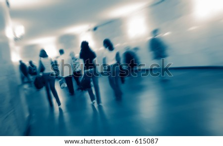 Abstract crowd in a rush hour in the underground