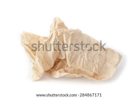 Abstract crumpled tissue paper texture on a white background