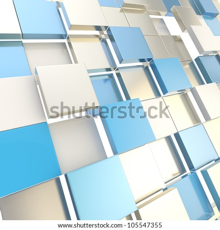 Abstract cube background shiny glossy silver and blue backdrop techno wallpaper - stock photo