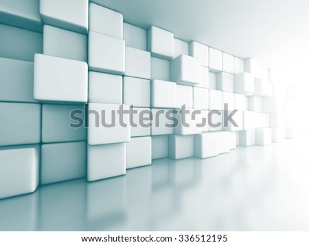 Abstract Cube Blocks Wall Background. 3d Render Illustration - stock photo