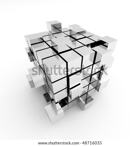 Abstract cube construction on a white background - stock photo