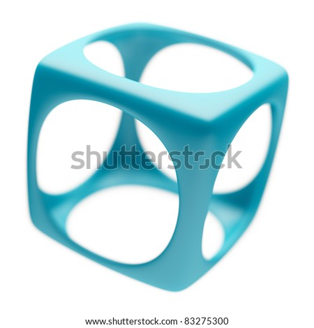 Abstract Cube Isolated on White - stock photo